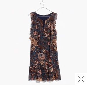 Madewell lily ruffle dress in sea floral size XS
